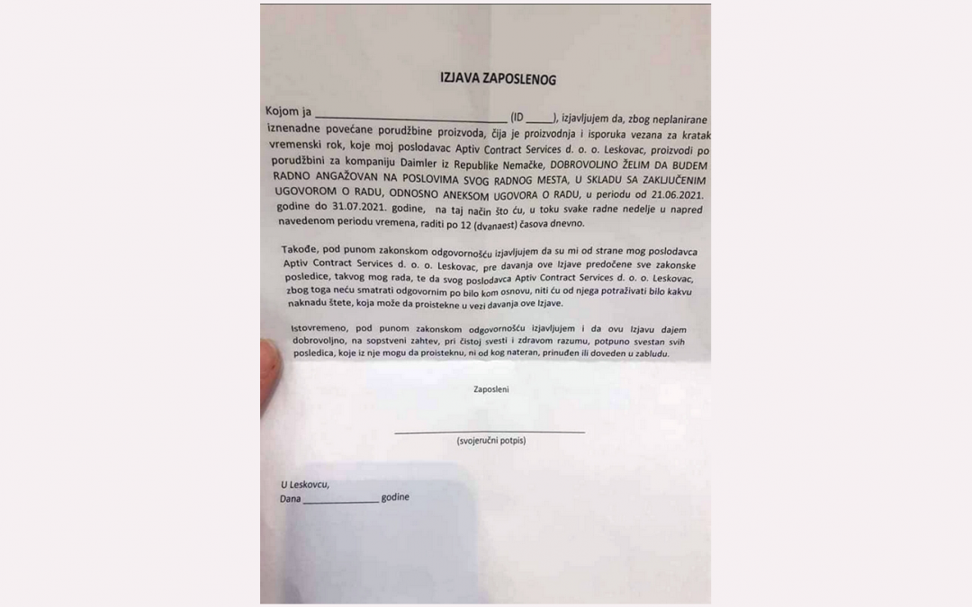 CDR i CPE osuđuju kršenje prava radnika i radnica u fabrici Aptiv